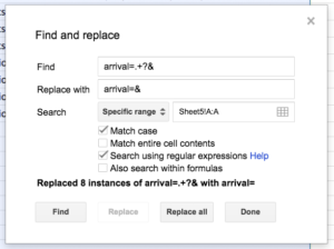 Google Sheets find and replace dialog
