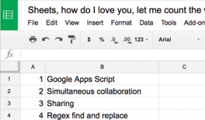 google sheets with love in the title
