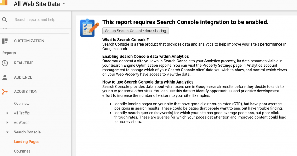 Enable Search Console in GA Screen