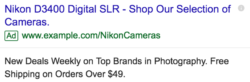 Standard Ad Copy for Nikon DSLR Camera