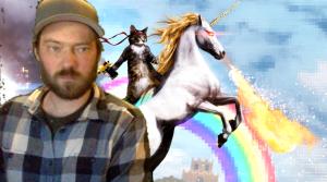 Jake on Zoom with cat riding unicorn background