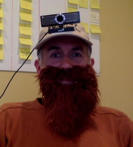 Nico dressed as Jake with beard and hat with webcam