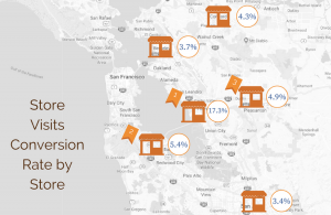 Map of multi-location business with conversion rates