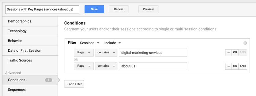 google analytics custom segment key pages