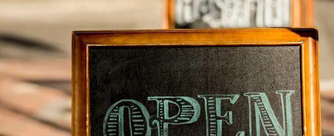 open sign chalk board