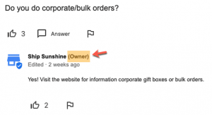 Ship Sunshine Question and Answer owner highlight