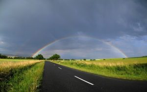 path to rainbow through storms
